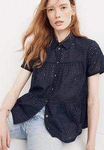 Madewell Eyelet Seamed Button Down